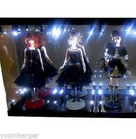 Acrylic Display Case LED Light Box for THREE Silkstone Barbie Fashion Model Doll