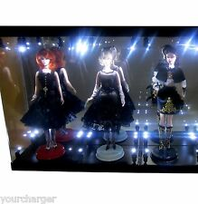Acrylic Display Case LED Light Box for THREE Silkstone Barbie Fashion Model Doll