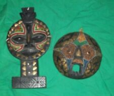 VTG PIER1 IMPORT GHANA GABON AFRICA COLLECTION TRIBAL MASK CARVED WOOD BEAD WORK