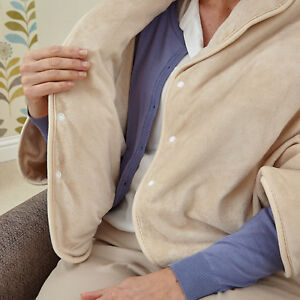 Comfi Heated Plush Fleece Blanket Jacket in Cream with Remote Luxury Cosy