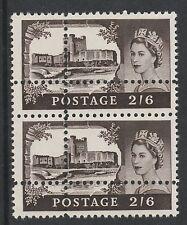 GRAN BRETAGNA 2910 - 1963 Castle 2s6d doppio perforazioni COPPIA unmounted Nuovo di zecca