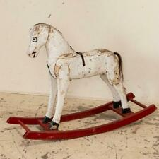 Vintage Original White Painted Rocking Horse from Sweden