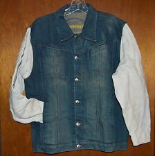 Denim Blue Jean Jacket Embroidered Cloth Sleeves Sz L Large Womens Mision USA