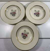 Tatler Of Trenton - Tulip Bouquet - Set Of 3 Rim Soup Bowls - Gold Verge & Trim