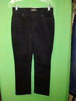 9990) TALBOTS sz 2P Straight Flawless 5 Pocket black corduroy stretch pants