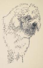 Old English Sheepdog Art Print #58 Kline adds dogs name free. Word Drawing gift