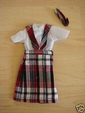 *NIP* 3 pc SCHOOL UNIFORM Dress Jumper Outfit Clothes for Barbie doll PLAID #69P