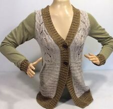 Buckle BKE Olive Patch Knit Long Button Cardigan Sweater S/M [Don't Miss Me] $50