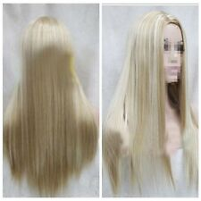 Sexy Woman  Long Blonde Mix Straight Natural Wig Hair Full Wigs Cosplay Wigs+Cap