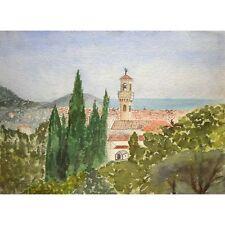 Senza cornice non firmato metà del secolo Mediterraneo townscape dipinto ad Acquerello