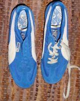 Vintage Puma Blue & White Suede Gum Bottom Running Walk Shoes Sneakers