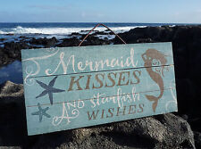 Mermaid Kisses & Starfish Wishes Tropical Wood Plank Beach Home Decor Sign New
