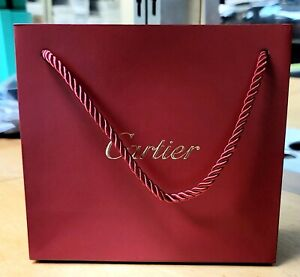 GIFT BAG CARTIER BEAUTIFUL AUTHENTIC RED WITH ROPE 8X7X3