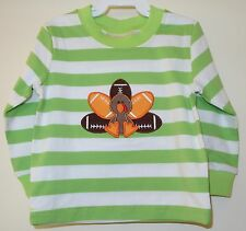 BNWT Southern Tots Green White Stripe Appliqued Football Turkey Shirt ~ Size 12M