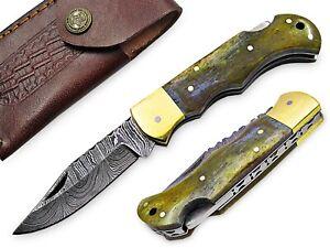White Deer Executive Series Damascus Folding Knife Camel Bone Handle