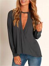 Women's Chiffon Blouse Choker V Neck Long Sleeve Shirt Loose Casual Tee Tops NEW