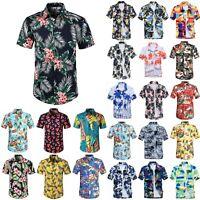 Mens Floral Short Sleeve Hawaiian T Shirt Summer Casual Beach Tops Hawaii Shirts