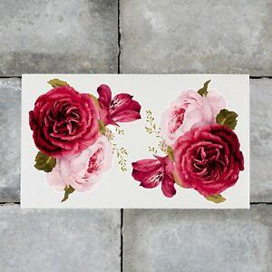 2 x Rose Flower Vinyl Stickers Decals Wall MacBook Laptop iPad - SKU6814