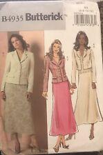 Butterick pattern B4935 Misses'/Petite Unlined Jacket & Skirt sz 6,8,10,12 uncut