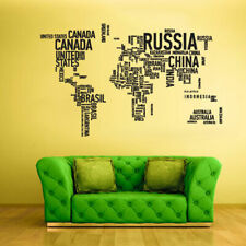 Wall Vinyl Sticker Bedroom Decal World Map Country Words Quotes (Z1712)