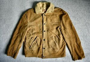Vtg 50s 60s JO-O-KAY Suede Leather Sherpa Lined Western Rancher Coat Jacket M
