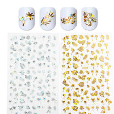 3D Nail Stickers Gold Silver Holographicss Leaf Nail Art Decors Transfer Decals