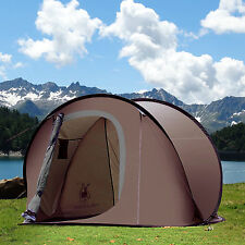 Gazelle Outdoors Camping Hiking Easy Setup Family Pop Up Instant Tent Brown