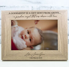 Personalised Engraved Godparents Photo Frame Christening Naming Ceremony Gift