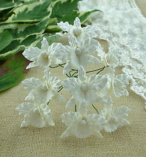 5 x WHITE ORCHIDS Mulberry Paper Flower Embellishments for Paper Crafts & Cards