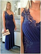 LIPSY VIP SZ UK 12 NAVY LACE & BEAD 1 SHOULDER MAXI DRESS NEW £150 @ NEXT (7100)