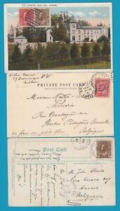 CANADA 3 PPC's 1904 Quebec, 1920 Strathmore, 1924 Gait to Belgium