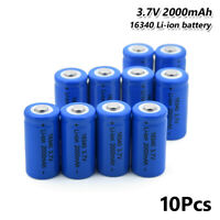 10Pcs Rechargeable 16340 Li-ion Battery 3.7V 2000mAh For Flashlight Headlamp 5A
