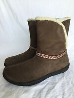 KEEN Galena Cascade Brown Nubuck Leather Winter Mid Calf Boots Women's Size 10.5