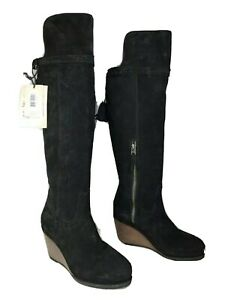 Ariat women Boots over knee high Black Suede Knoxville Western wedge OTK 8 new