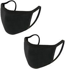 2X Unisex Face Mask 100% cotton  Washable Reusable Masks Protection Cover Black