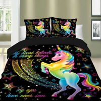 Magical Star Unicorn Black Duvet Cover Set Twin Queen King Bedding Animal US