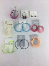 Costume Fashion Earring Lot 9 Dangle Hoop Drop Bead Jewelry Resin Fabric Shell