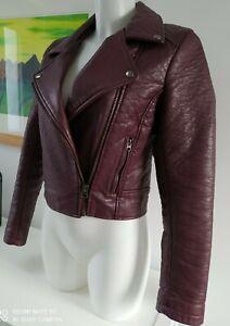 Topshop Burgundy Maroon Red Faux Leather Biker Jacket Size Uk 8