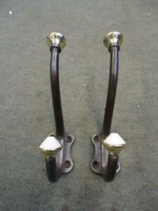 Quality Pair Of Vintage Steel Double Hooks With Brass & Pot Ends