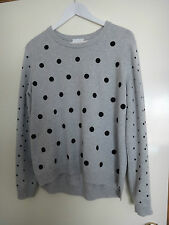 **WITCHERY**GREY COTTON KNIT TOP BLACK SPOTS, SZ M, RRP $99.95, AS NEW!!
