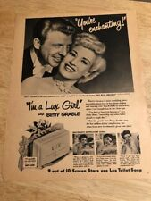"Vintage 1950 Ad - BETTY GRABLE, DAN DAILEY for LUX TOILET SOAP - 8-1/2"" x 11"""