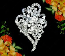 HEART FLOWER WEDDING CLEAR RHINESTONE CRYSTAL SILVER BROOCH PIN