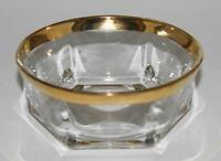 """Cellini Glass, Italy 6 Sided Round Fruit Sauce Bowl with Gold Rim, 4 3/4"""" Across"""