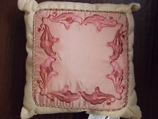 """New Croscill Martine Coral 18"""" X 18"""" Embroidered Throw Pillow"""