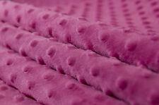 Weicher Samt Stoff Minky Cuddle Dots Noppen Meterware 1lfm 1,5m breit rosa