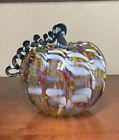 Signed Art Glass Hand Blown 6.5 Rainbow Pumpkin Swirl Stem Luke Adams?