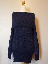 Atmosphere Off épaule Chunky Sparkle Pull Pullover Taille 12 Bnwt Bleu Marine