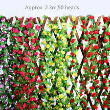 2.3m Artificial Rose Garland Silk Flower Vine Ivy Home Wedding Party Deco yyii