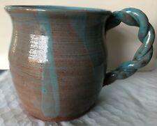 Handmade Rustic Ceramic Coffee Mug Turquoise & Rust Color GLOBAL Ship