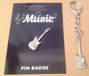 Electric Guitar Silver Pewter Keyring And Pin Badge Gift Set